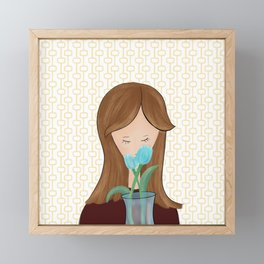 Girl With Flowers Girl With Tulips Framed Mini Art Print