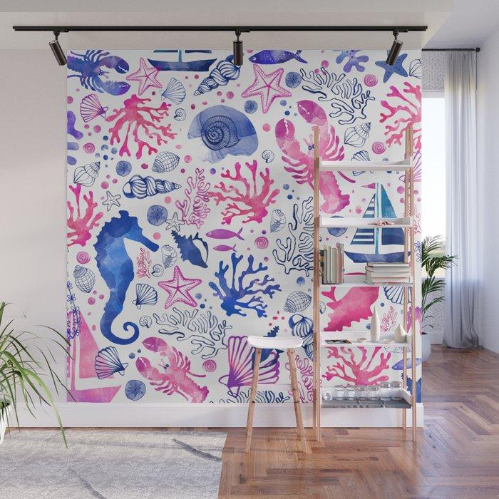 Hand Painted Blush Pink Blue Watercolor Nautical Sea Pattern Wall
