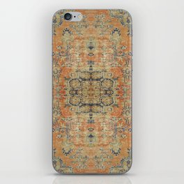 Vintage Woven Coral and Blue Kilim iPhone Skin