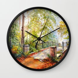 Bridge in the autumn park Wall Clock