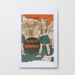 pin the tail on the donkey vintage game Metal Print