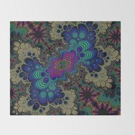Peacock Fractal Throw Blanket