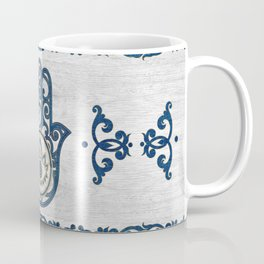 Hamsa Hand Hand of Fatima blue wood Coffee Mug