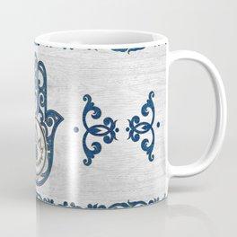 Hamsa Hand Hand of Fatima blue wood Coffee Mug
