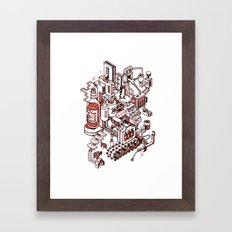 Small City - Brown Framed Art Print