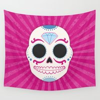sugar skull Wall Tapestries featuring Sugar Skull by Illustration by Julia