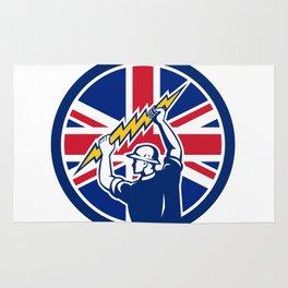 British Electrician Union Jack Flag icon Rug