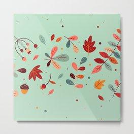 Happy Autumn Pattern Metal Print