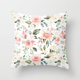 Sunny Floral Pastel Pink Watercolor Flower Pattern Throw Pillow