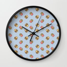 Cute pink brown blue funny fries burger food triangles pattern Wall Clock