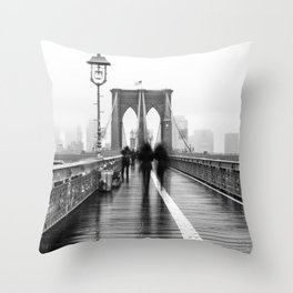 Brooklyn Bridge Walk Throw Pillow