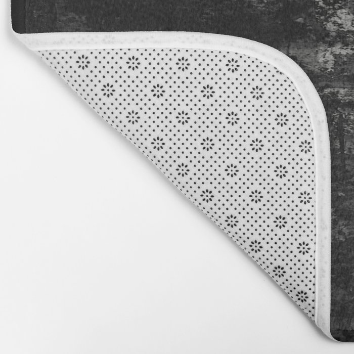 Into the Night - Black & White, textured abstract Bath Mat