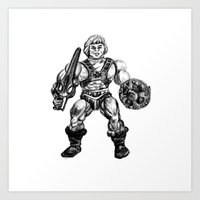 he man Art Prints featuring HE-MAN by Furry Turtle Creations