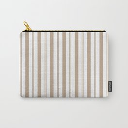 Pantone Hazelnut and White Wide & Narrow Vertical Lines Stripe Pattern Carry-All Pouch
