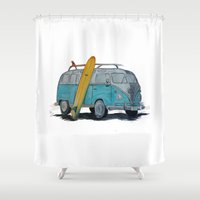 vw bus Shower Curtains featuring VW Bus by AshyGough