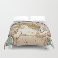 mucha Duvet Covers featuring Mucha modern stylization by Anna Sun