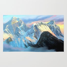 Panoramic Sunrise View Of Everest Mountain Rug