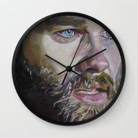 kurt rahn Wall Clocks featuring Kurt Russell by Kevyn