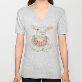 Baby Lamb Floral Watercolor Farm Animal Unisex V-Neck