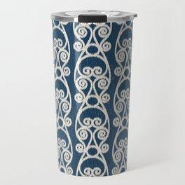 Crackled Scrolled Ikat Pattern - Navy Cream Travel Mug