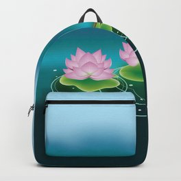Lotus Flower with Leaves Backpack