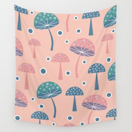 Dancing mushrooms in pink Wall Tapestry