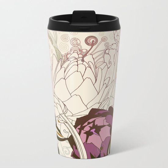 Peach and purple  artichoke Metal Travel Mug