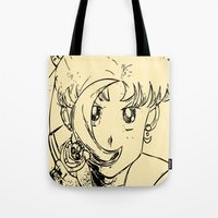 sailormoon Tote Bags featuring Sailor Pop by Karen McLendon