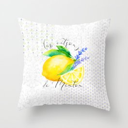 Les Citrons de Menton—Lemons and Lavender, Provence Throw Pillow