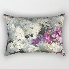 White & violet flowers flowerbed Rectangular Pillow