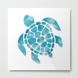 Turtle Aquamarine Art Metal Print