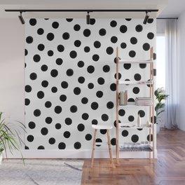 Black polka dots Wall Mural