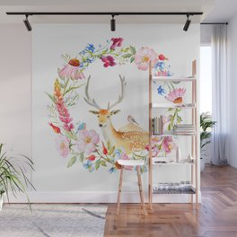 Deer in a floral wreath Wall Mural