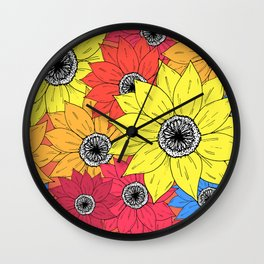 Multicoloured Sketch Sunflowers Illustrated Pattern Wall Clock