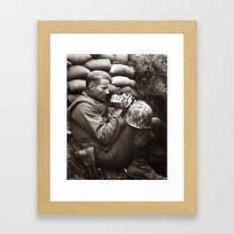 The Marine and the Kitten Framed Art Print