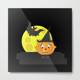 Funny emotionless pumpkin head with bat and moon Metal Print
