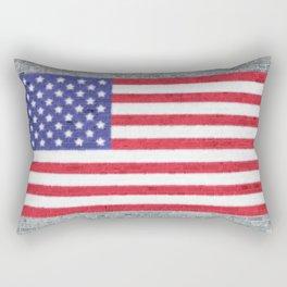 USA Flag Whitewashed Loft Apartment Brick Wall Rectangular Pillow