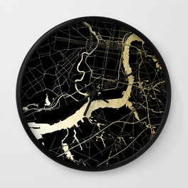 Philadelphia - Black and Gold Wall Clock