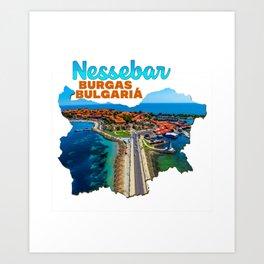 Nessebar Burgas Bulgaria Bulgarian Black Sea Coast Pond Water Green Tree Road Art Print