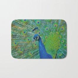 Peacock Illustration Bath Mat