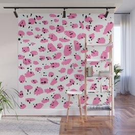 Modern pink black brushstrokes polka dots pattern Wall Mural