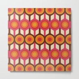 Magenta, Orange, Ivory & Brown Retro 1960s Circle Pattern Metal Print