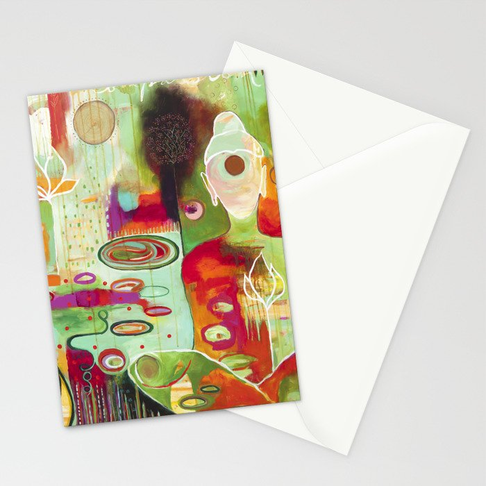 """""""Rooted In Love"""" Original Painting by Flora Bowley Stationery Cards"""