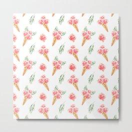 Floral Cones Pattern Metal Print