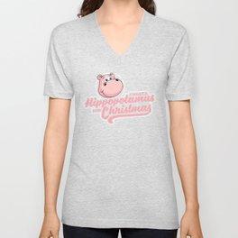 I want a hippopotamus for Christmas Unisex V-Neck