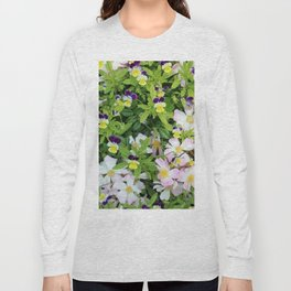 Cute Pansies and Pink and White Flowers Long Sleeve T-shirt