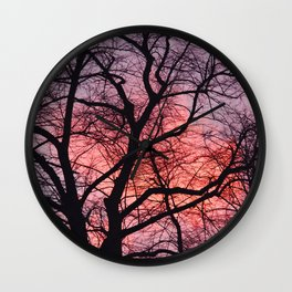 Winter trees with pink sunset Wall Clock