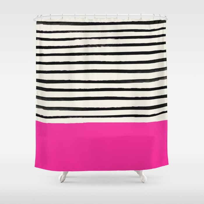 Bright Rose Pink X Stripes Shower Curtain