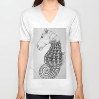 sea horse V-neck T-shirts featuring Sea Horse by Stephanie Darling