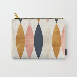 Colorful Pastel Geometric Scale Pattern Pink Navy Gold Art Deco Carry-All Pouch
